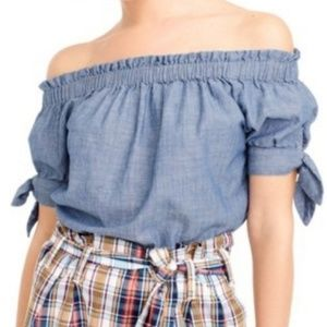 J. Crew chambray off the shoulder blouse